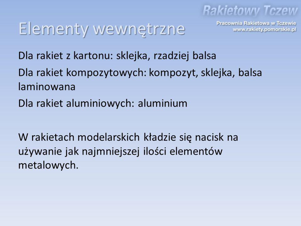 Elementy wewnętrzne Dla rakiet z kartonu: sklejka, rzadziej balsa Dla rakiet kompozytowych: kompozyt, sklejka, balsa laminowana Dla rakiet aluminiowyc