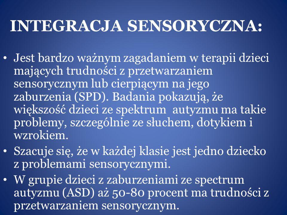 INTEGRACJA SENSORYCZNA: Jest bardzo ważnym zagadaniem w terapii dzieci mających trudności z przetwarzaniem sensorycznym lub cierpiącym na jego zaburze