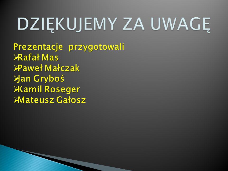Prezentacje przygotowali  Rafał Mas  Paweł Małczak  Jan Gryboś  Kamil Roseger  Mateusz Gałosz