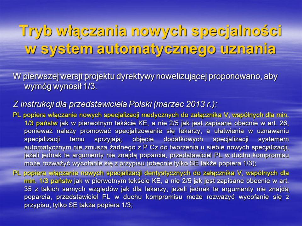 Tryb włączania nowych specjalności w system automatycznego uznania W pierwszej wersji projektu dyrektywy nowelizującej proponowano, aby wymóg wynosił 1/3.