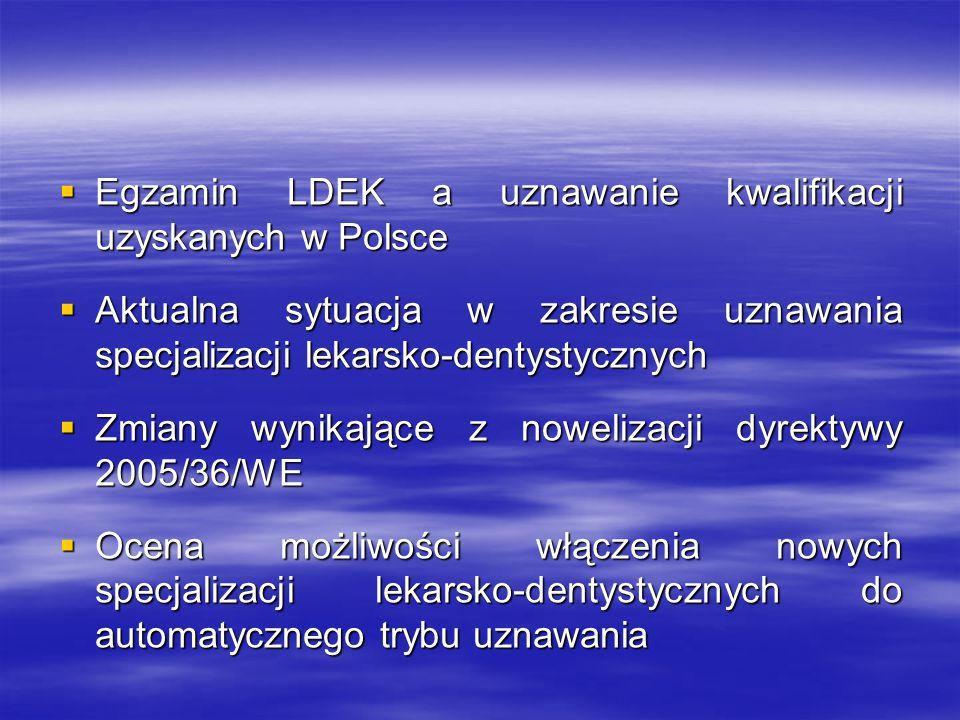 System automatycznego uznawania kwalifikacji zawodowych lekarzy i lekarzy dentystów Dyrektywa 2005/36/WE Parlamentu Europejskiego i Rady z dnia 7 września 2005 r.