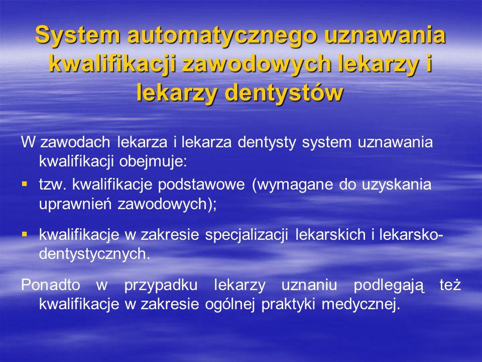 System automatycznego uznawania kwalifikacji zawodowych lekarzy i lekarzy dentystów W zawodach lekarza i lekarza dentysty system uznawania kwalifikacji obejmuje:   tzw.