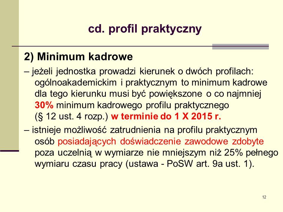 cd. profil praktyczny 2) Minimum kadrowe – jeżeli jednostka prowadzi kierunek o dwóch profilach: ogólnoakademickim i praktycznym to minimum kadrowe dl
