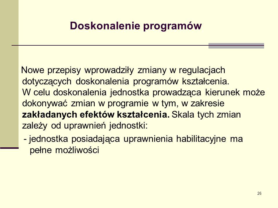 Doskonalenie programów Nowe przepisy wprowadziły zmiany w regulacjach dotyczących doskonalenia programów kształcenia. W celu doskonalenia jednostka pr