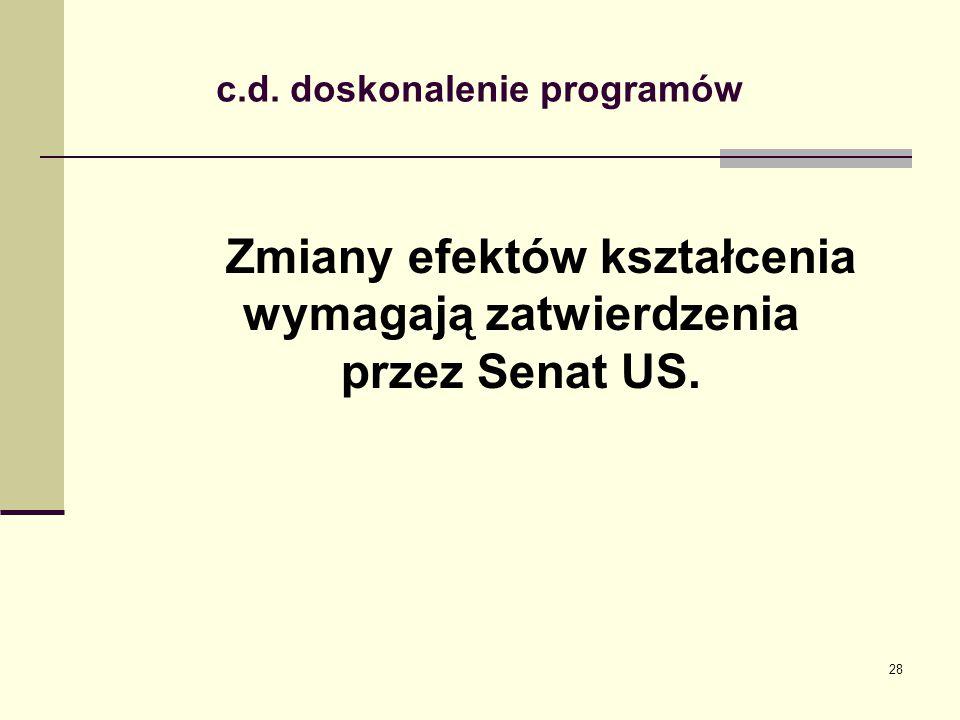 . c.d. doskonalenie programów Zmiany efektów kształcenia wymagają zatwierdzenia przez Senat US. 28