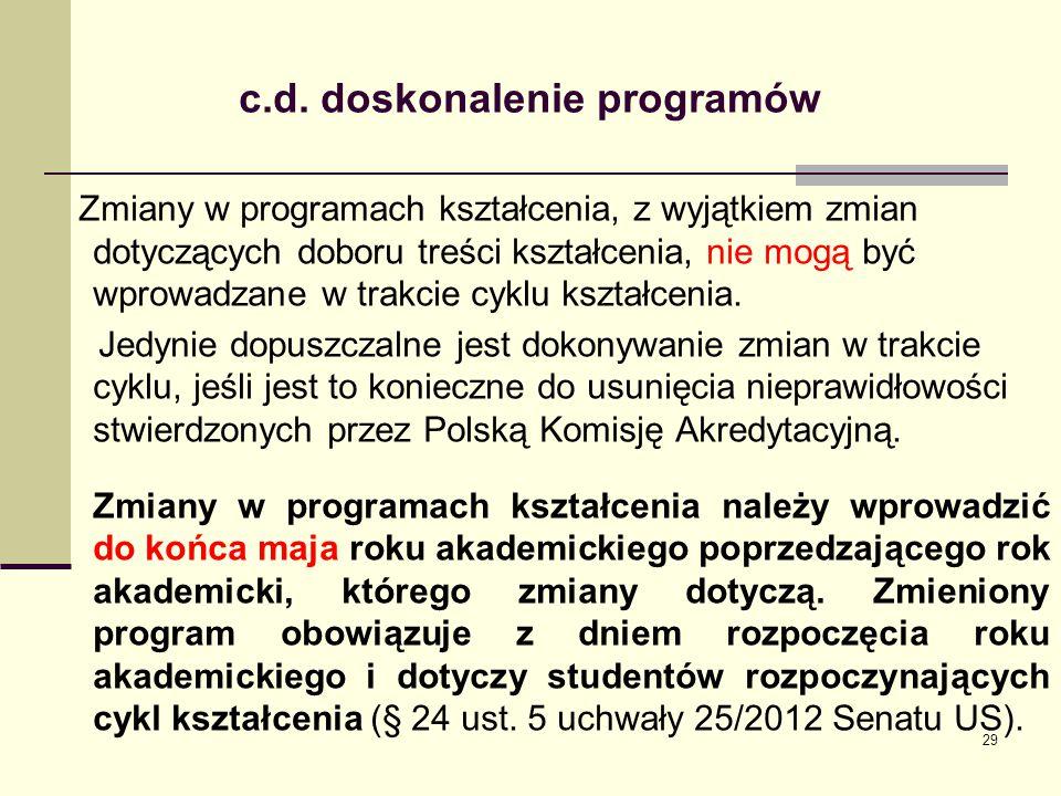 . c.d. doskonalenie programów Zmiany w programach kształcenia, z wyjątkiem zmian dotyczących doboru treści kształcenia, nie mogą być wprowadzane w tra