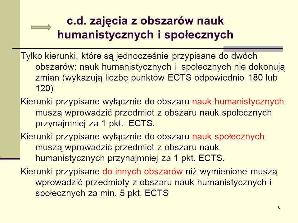 c.d. zajęcia z obszarów nauk humanistycznych i społecznych Tylko kierunki, które są jednocześnie przypisane do dwóch obszarów: nauk humanistycznych i