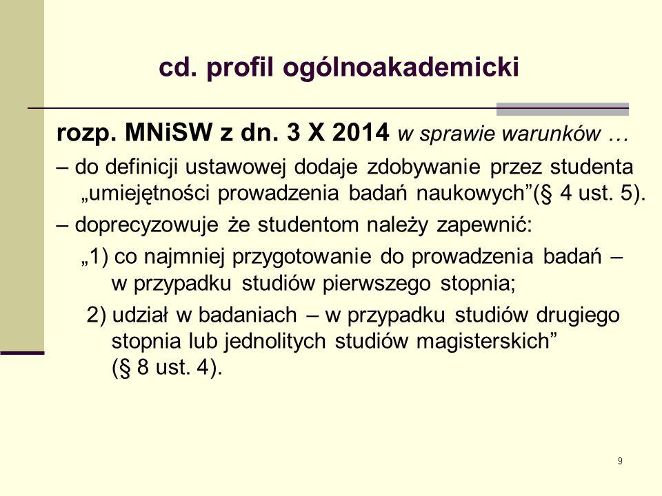 """cd. profil ogólnoakademicki rozp. MNiSW z dn. 3 X 2014 w sprawie warunków … – do definicji ustawowej dodaje zdobywanie przez studenta """"umiejętności pr"""