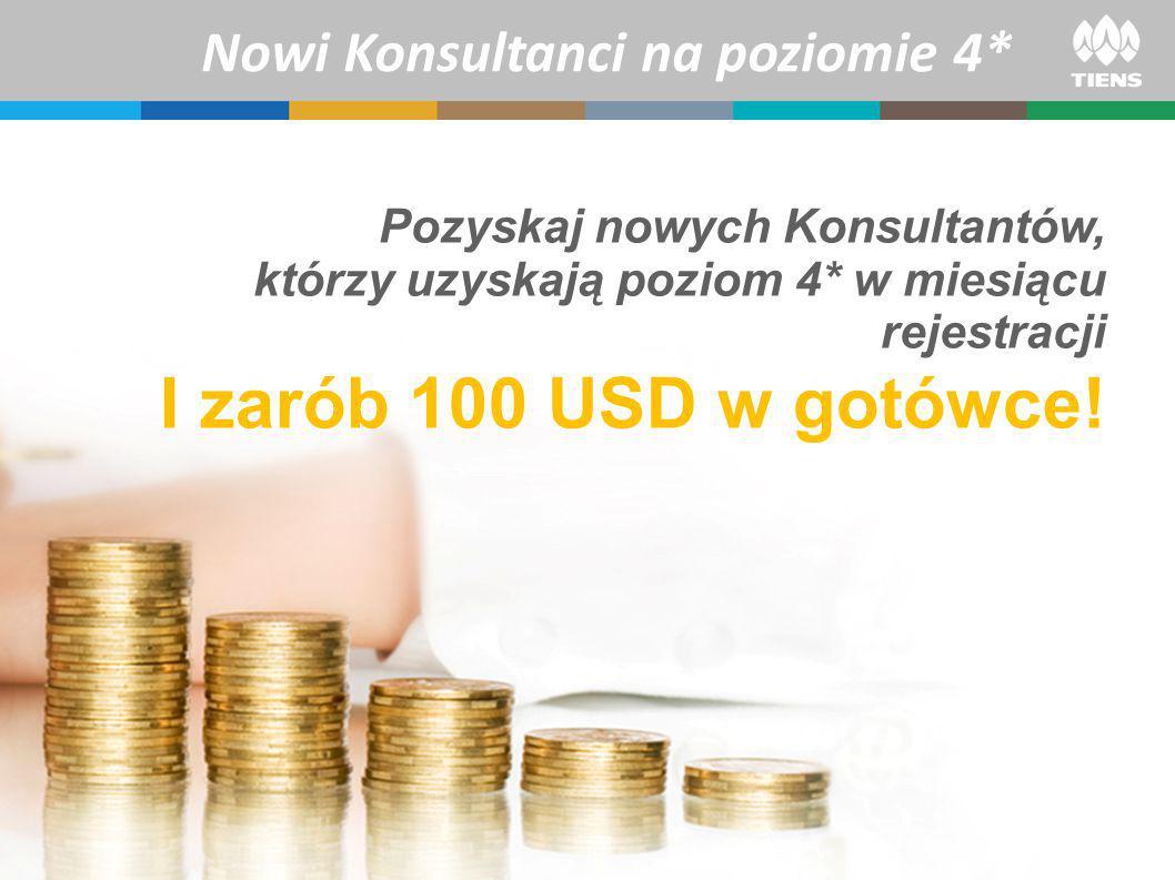 Pozyskaj nowych Konsultantów, którzy uzyskają poziom 4* w miesiącu rejestracji I zarób 100 USD w gotówce.
