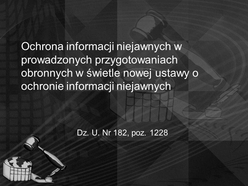 Ochrona informacji niejawnych w prowadzonych przygotowaniach obronnych w świetle nowej ustawy o ochronie informacji niejawnych Dz. U. Nr 182, poz. 122