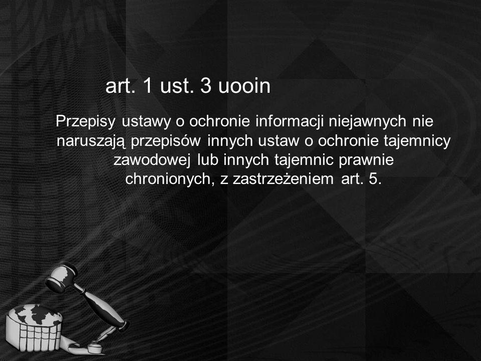 art. 1 ust. 3 uooin Przepisy ustawy o ochronie informacji niejawnych nie naruszają przepisów innych ustaw o ochronie tajemnicy zawodowej lub innych ta
