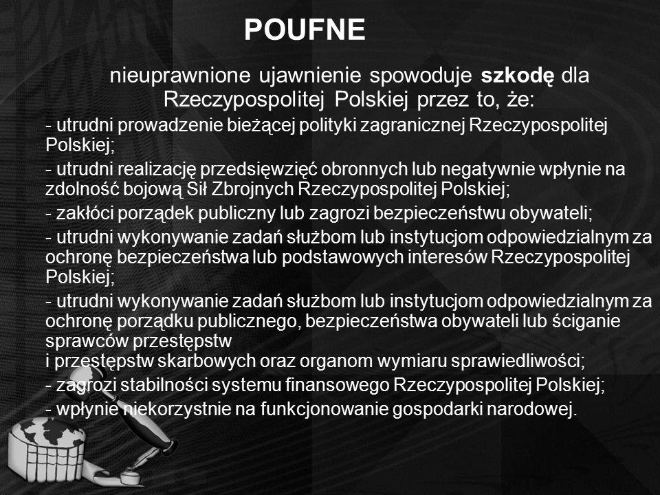 POUFNE nieuprawnione ujawnienie spowoduje szkodę dla Rzeczypospolitej Polskiej przez to, że: - utrudni prowadzenie bieżącej polityki zagranicznej Rzec