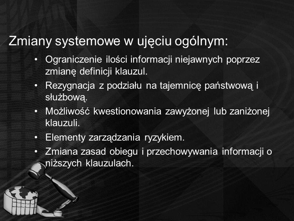 Zmiany systemowe w ujęciu ogólnym: Ograniczenie ilości informacji niejawnych poprzez zmianę definicji klauzul. Rezygnacja z podziału na tajemnicę pańs