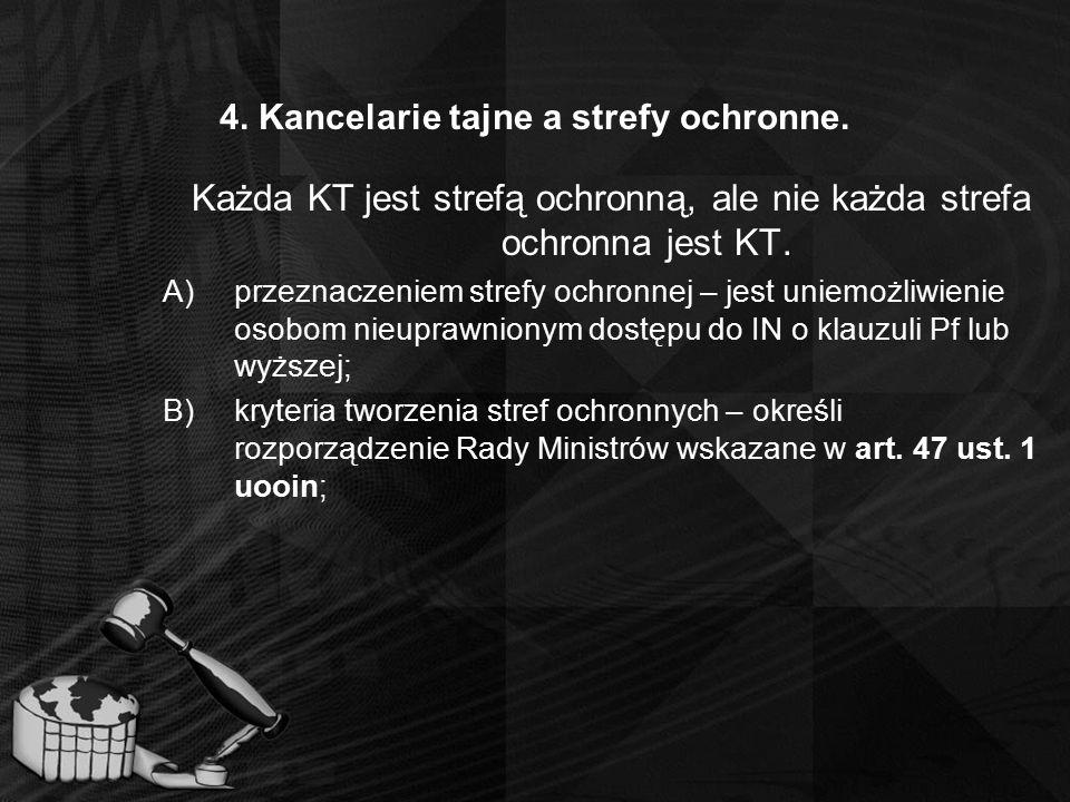 4. Kancelarie tajne a strefy ochronne. Każda KT jest strefą ochronną, ale nie każda strefa ochronna jest KT. A)przeznaczeniem strefy ochronnej – jest