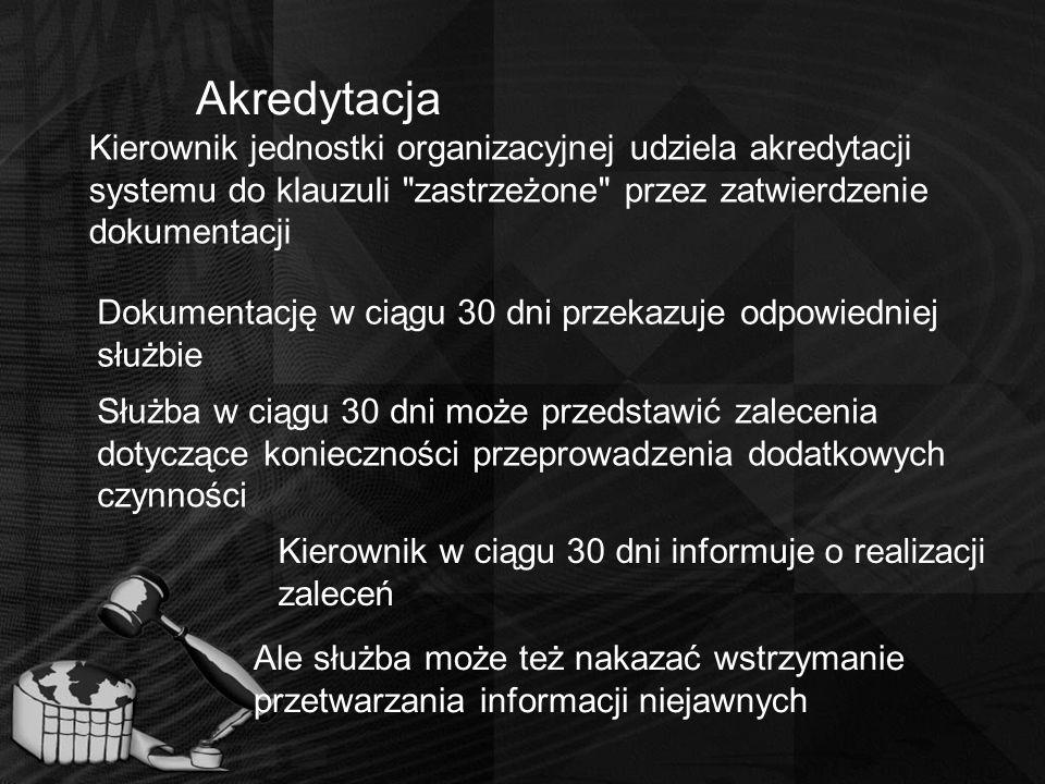 Akredytacja Kierownik jednostki organizacyjnej udziela akredytacji systemu do klauzuli