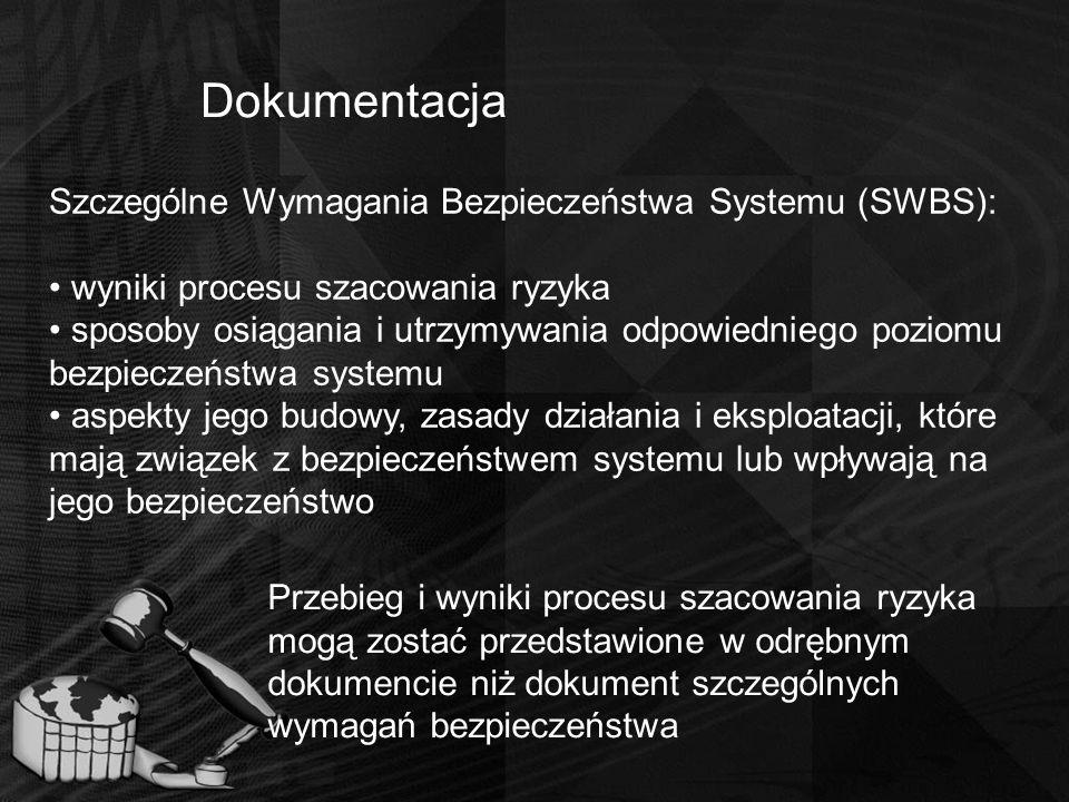 Dokumentacja Szczególne Wymagania Bezpieczeństwa Systemu (SWBS): wyniki procesu szacowania ryzyka sposoby osiągania i utrzymywania odpowiedniego pozio