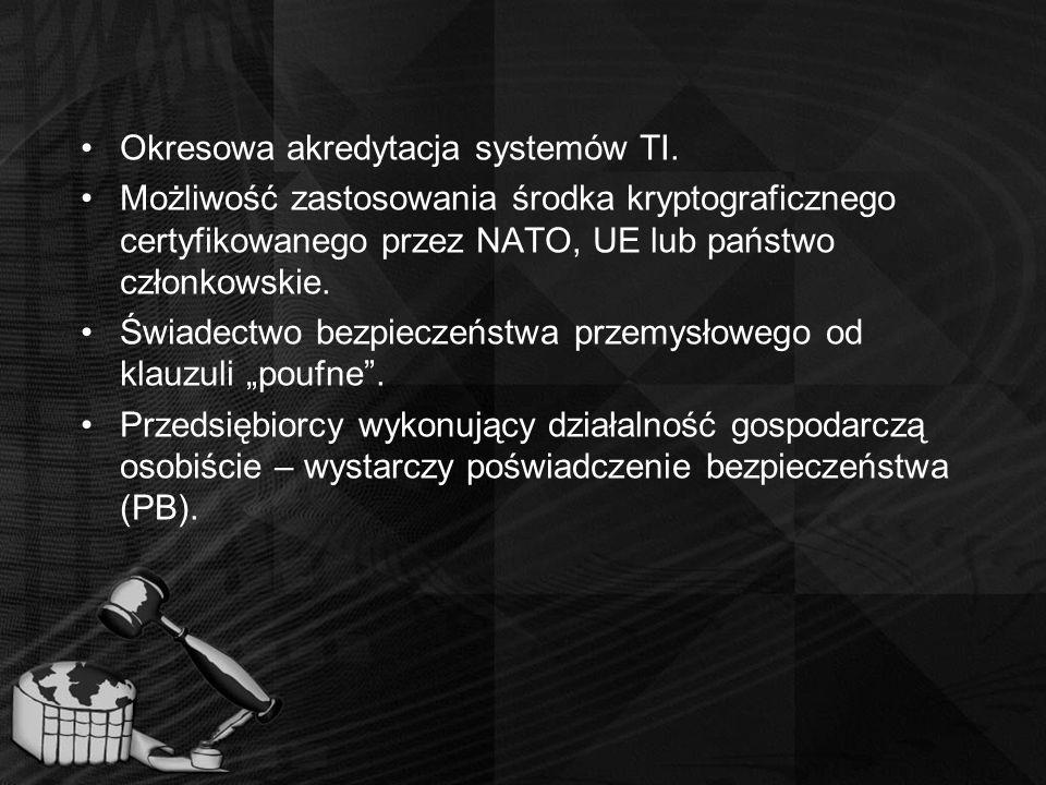 Okresowa akredytacja systemów TI. Możliwość zastosowania środka kryptograficznego certyfikowanego przez NATO, UE lub państwo członkowskie. Świadectwo