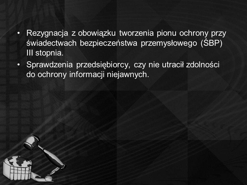 Rezygnacja z obowiązku tworzenia pionu ochrony przy świadectwach bezpieczeństwa przemysłowego (ŚBP) III stopnia. Sprawdzenia przedsiębiorcy, czy nie u