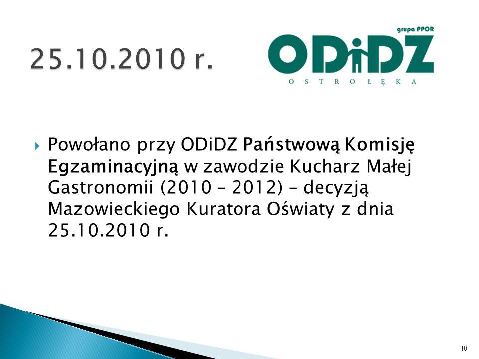  Powołano przy ODiDZ Państwową Komisję Egzaminacyjną w zawodzie Kucharz Małej Gastronomii (2010 – 2012) – decyzją Mazowieckiego Kuratora Oświaty z dnia 25.10.2010 r.