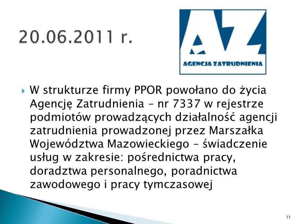  W strukturze firmy PPOR powołano do życia Agencję Zatrudnienia – nr 7337 w rejestrze podmiotów prowadzących działalność agencji zatrudnienia prowadz