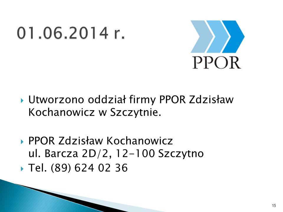  Utworzono oddział firmy PPOR Zdzisław Kochanowicz w Szczytnie.  PPOR Zdzisław Kochanowicz ul. Barcza 2D/2, 12-100 Szczytno  Tel. (89) 624 02 36 15