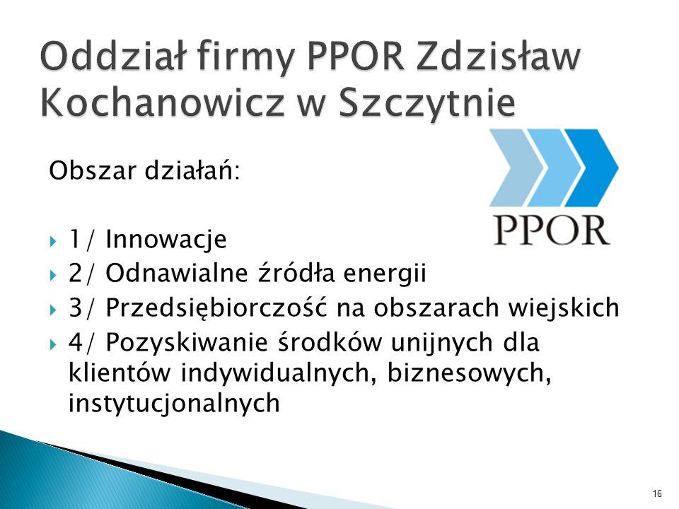 Obszar działań:  1/ Innowacje  2/ Odnawialne źródła energii  3/ Przedsiębiorczość na obszarach wiejskich  4/ Pozyskiwanie środków unijnych dla klientów indywidualnych, biznesowych, instytucjonalnych 16