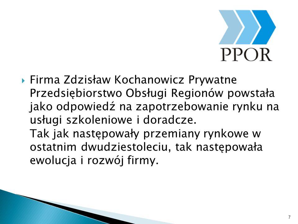  Firma Zdzisław Kochanowicz Prywatne Przedsiębiorstwo Obsługi Regionów powstała jako odpowiedź na zapotrzebowanie rynku na usługi szkoleniowe i dorad