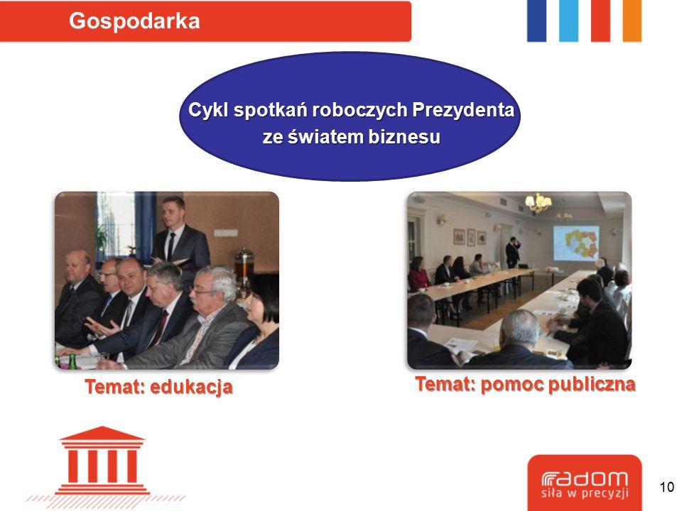 Gospodarka Cykl spotkań roboczych Prezydenta ze światem biznesu Temat: edukacja Temat: pomoc publiczna 10