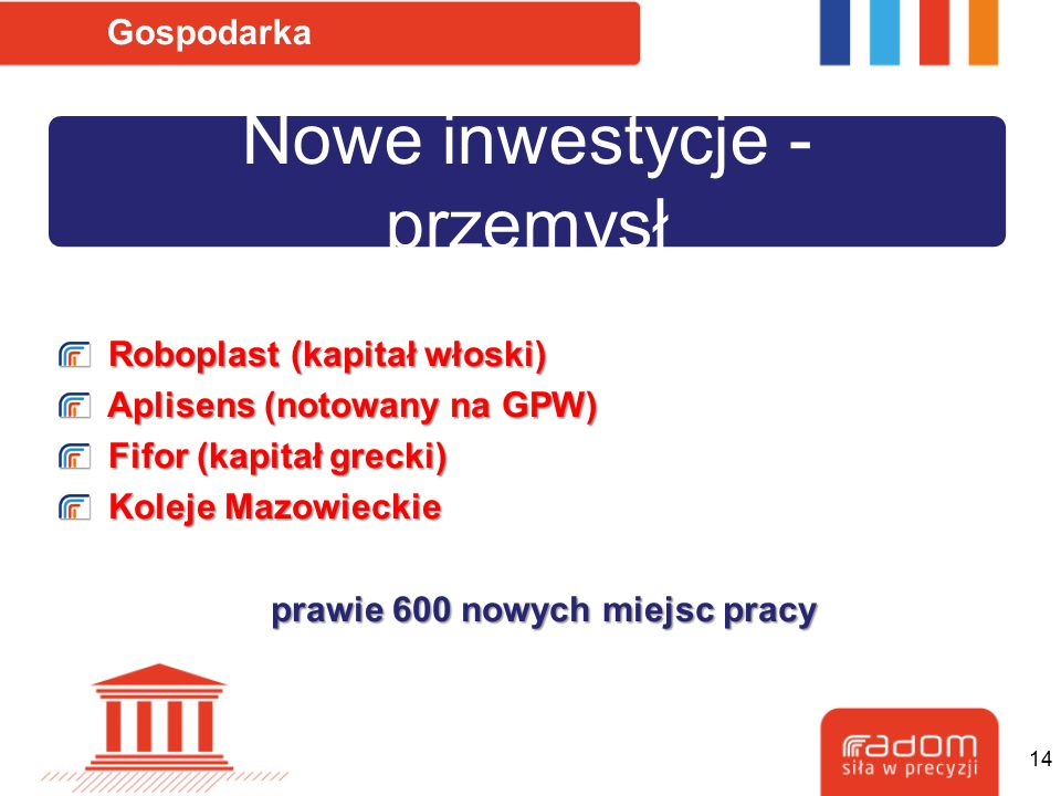 Nowe inwestycje - przemysł Gospodarka Roboplast (kapitał włoski) Roboplast (kapitał włoski) Aplisens (notowany na GPW) Aplisens (notowany na GPW) Fifo