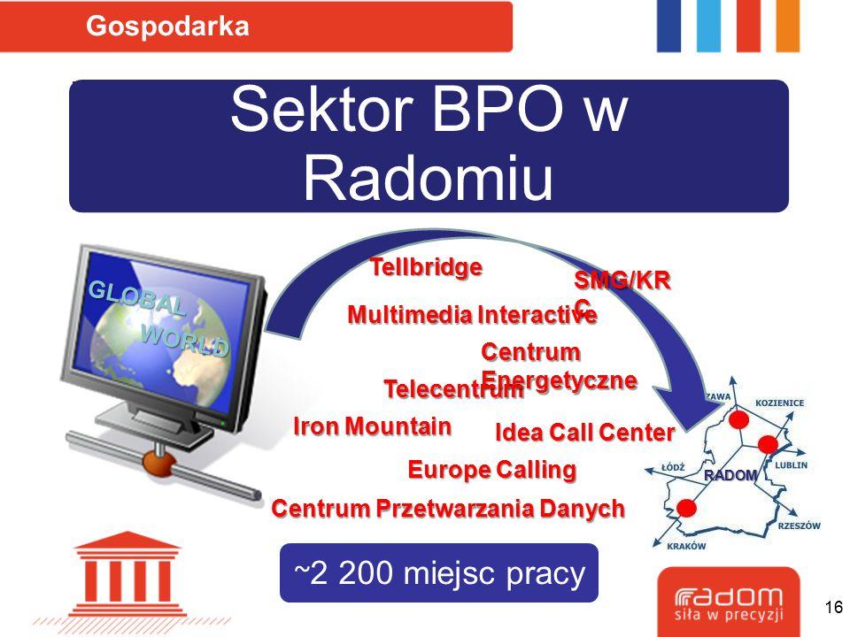 Sektor BPO w Radomiu Gospodarka SMG/KR C Iron Mountain Telecentrum Centrum Energetyczne Europe Calling Tellbridge Idea Call Center Multimedia Interact
