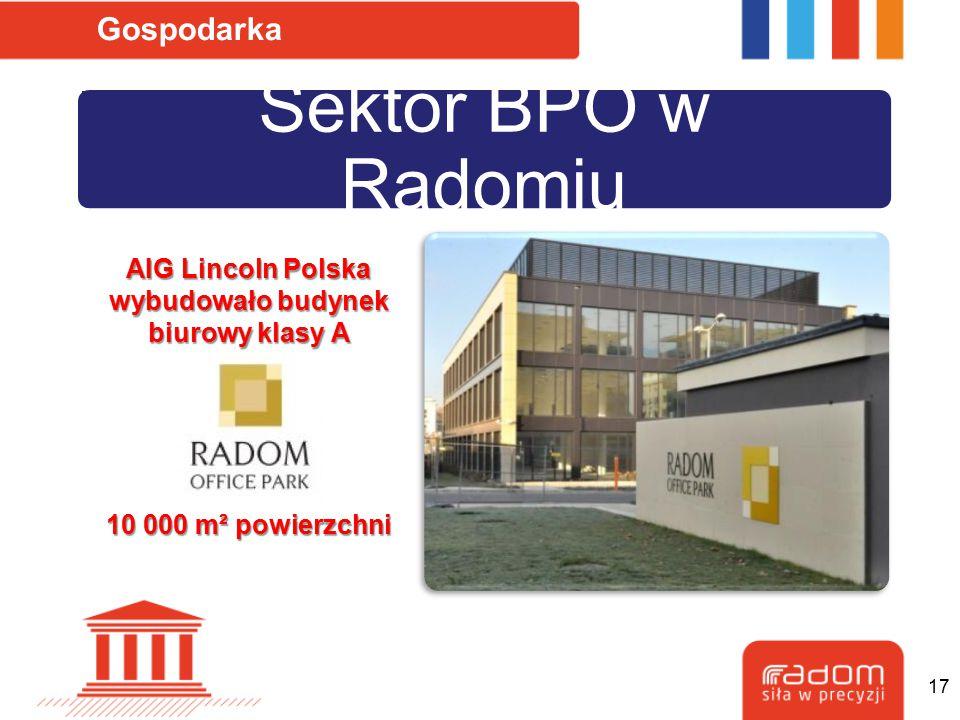 Sektor BPO w Radomiu Gospodarka AIG Lincoln Polska wybudowało budynek biurowy klasy A 10 000 m² powierzchni 17