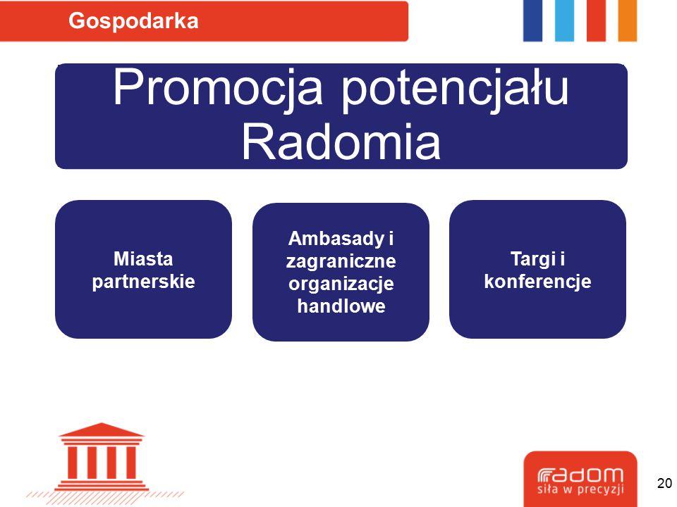 Promocja potencjału Radomia Gospodarka Miasta partnerskie Ambasady i zagraniczne organizacje handlowe Targi i konferencje 20
