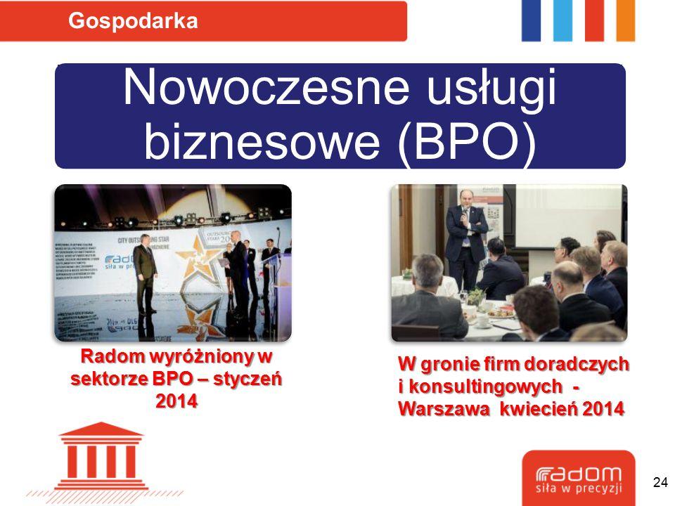 Nowoczesne usługi biznesowe (BPO) Gospodarka Radom wyróżniony w sektorze BPO – styczeń 2014 W gronie firm doradczych i konsultingowych - Warszawa kwie