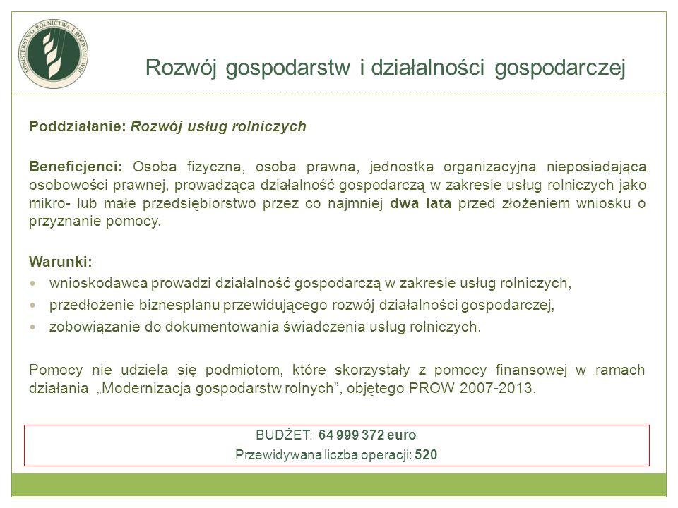 Poddziałanie: Rozwój usług rolniczych Beneficjenci: Osoba fizyczna, osoba prawna, jednostka organizacyjna nieposiadająca osobowości prawnej, prowadząc