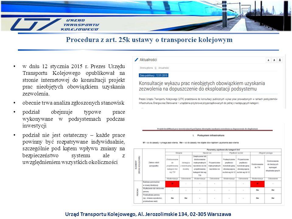 Urząd Transportu Kolejowego, Al. Jerozolimskie 134, 02-305 Warszawa Procedura z art. 25k ustawy o transporcie kolejowym w dniu 12 stycznia 2015 r. Pre