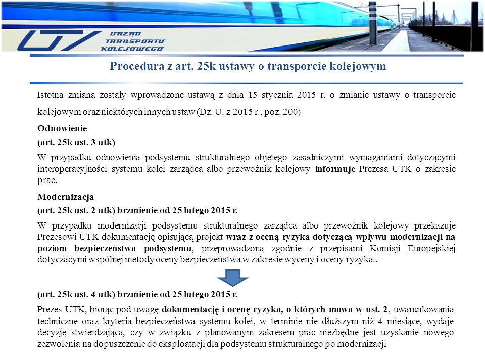 Procedura z art. 25k ustawy o transporcie kolejowym Istotna zmiana zostały wprowadzone ustawą z dnia 15 stycznia 2015 r. o zmianie ustawy o transporci