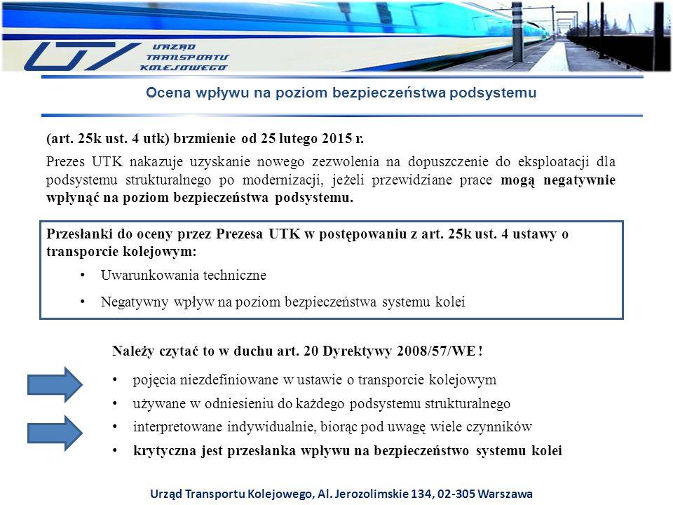 Urząd Transportu Kolejowego, Al. Jerozolimskie 134, 02-305 Warszawa Ocena wpływu na poziom bezpieczeństwa podsystemu Przesłanki do oceny przez Prezesa