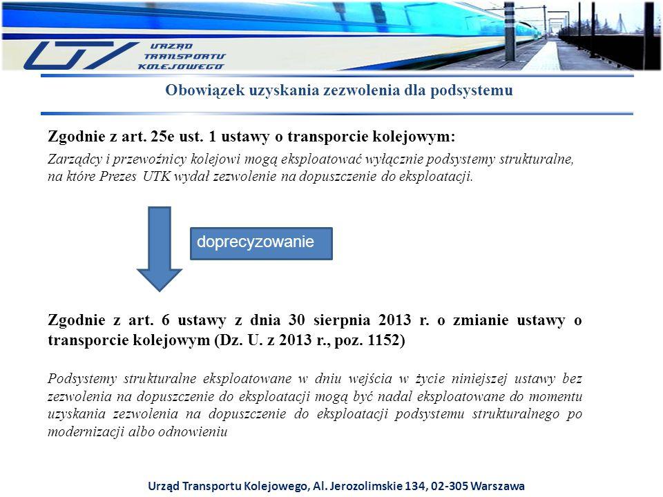 Urząd Transportu Kolejowego, Al. Jerozolimskie 134, 02-305 Warszawa Zgodnie z art. 25e ust. 1 ustawy o transporcie kolejowym: Zarządcy i przewoźnicy k