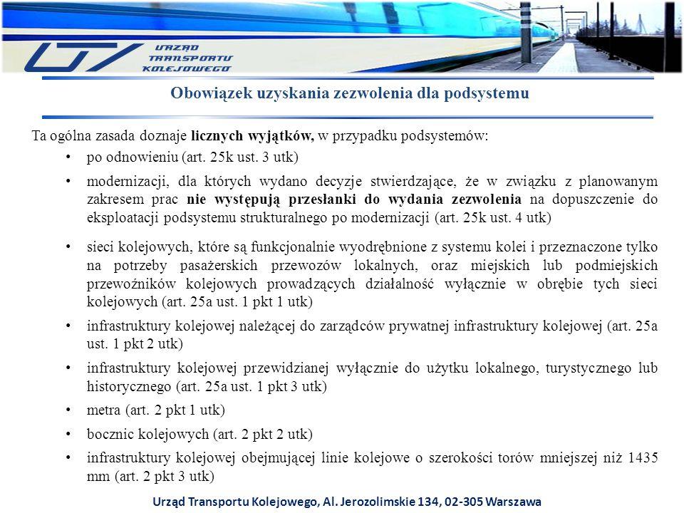 Urząd Transportu Kolejowego, Al. Jerozolimskie 134, 02-305 Warszawa Obowiązek uzyskania zezwolenia dla podsystemu Ta ogólna zasada doznaje licznych wy