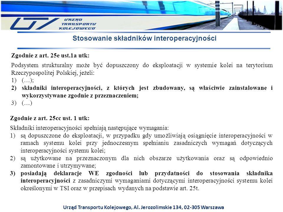 Urząd Transportu Kolejowego, Al. Jerozolimskie 134, 02-305 Warszawa Stosowanie składników interoperacyjności Zgodnie z art. 25e ust.1a utk: Podsystem