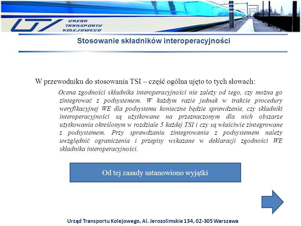 Urząd Transportu Kolejowego, Al. Jerozolimskie 134, 02-305 Warszawa Stosowanie składników interoperacyjności W przewodniku do stosowania TSI – część o