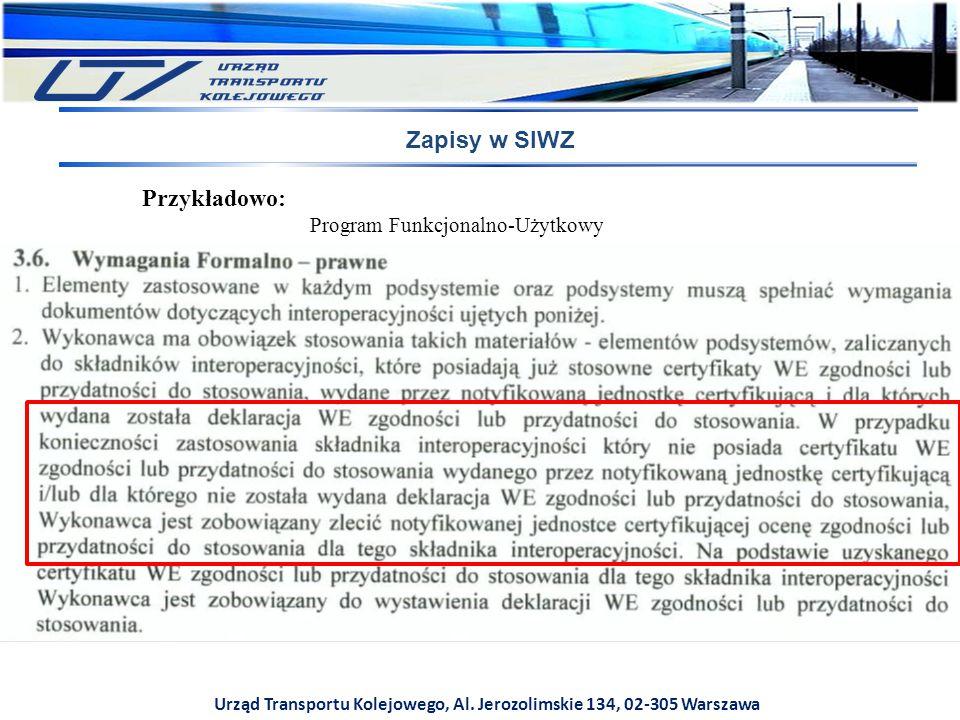 Urząd Transportu Kolejowego, Al. Jerozolimskie 134, 02-305 Warszawa Zapisy w SIWZ Przykładowo: Program Funkcjonalno-Użytkowy
