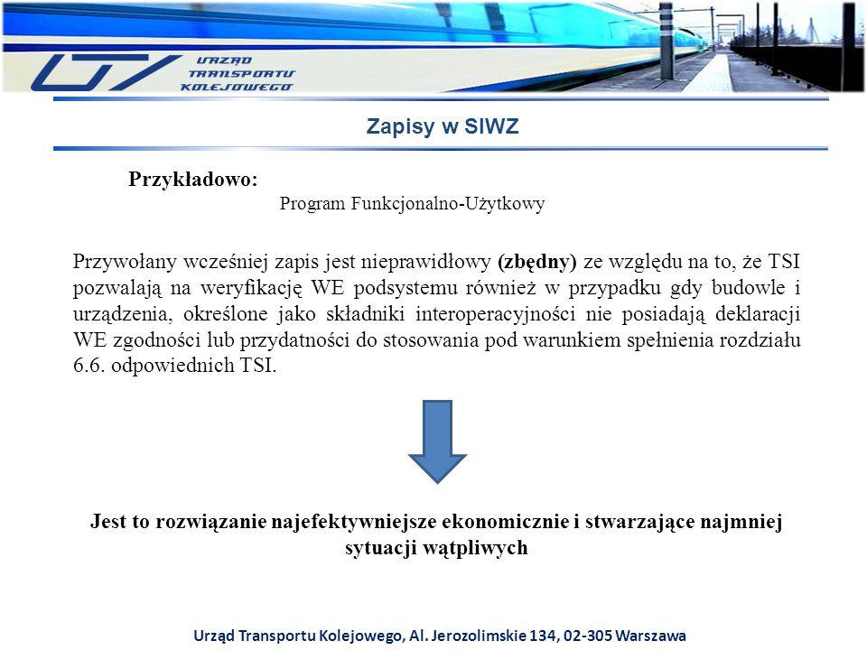 Urząd Transportu Kolejowego, Al. Jerozolimskie 134, 02-305 Warszawa Zapisy w SIWZ Przykładowo: Program Funkcjonalno-Użytkowy Przywołany wcześniej zapi