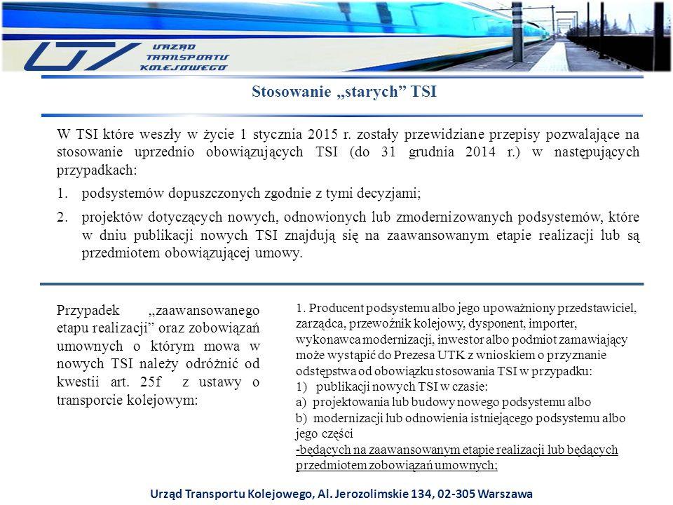 """Urząd Transportu Kolejowego, Al. Jerozolimskie 134, 02-305 Warszawa Stosowanie """"starych"""" TSI W TSI które weszły w życie 1 stycznia 2015 r. zostały prz"""