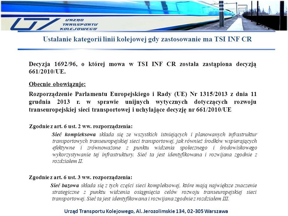 Urząd Transportu Kolejowego, Al. Jerozolimskie 134, 02-305 Warszawa Ustalanie kategorii linii kolejowej gdy zastosowanie ma TSI INF CR Zgodnie z art.