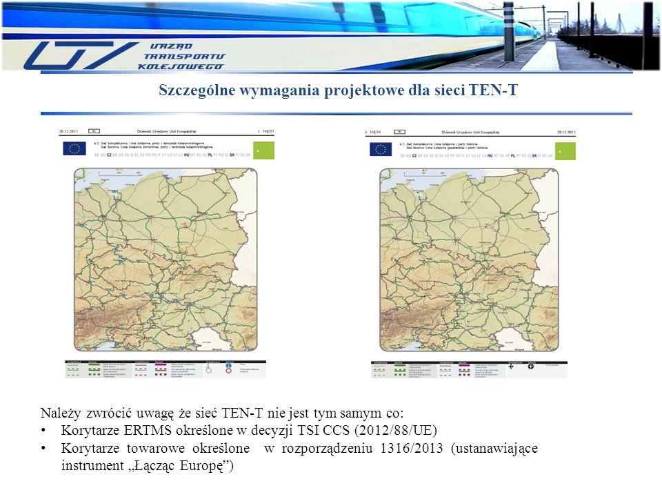 """Szczególne wymagania projektowe dla sieci TEN-T Należy zwrócić uwagę że sieć TEN-T nie jest tym samym co: Korytarze ERTMS określone w decyzji TSI CCS (2012/88/UE) Korytarze towarowe określone w rozporządzeniu 1316/2013 (ustanawiające instrument """"Łącząc Europę )"""