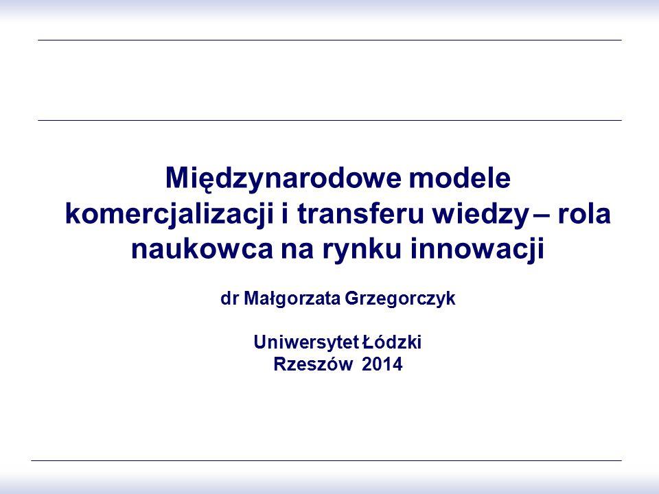 Międzynarodowe modele komercjalizacji i transferu wiedzy – rola naukowca na rynku innowacji dr Małgorzata Grzegorczyk Uniwersytet Łódzki Rzeszów 2014