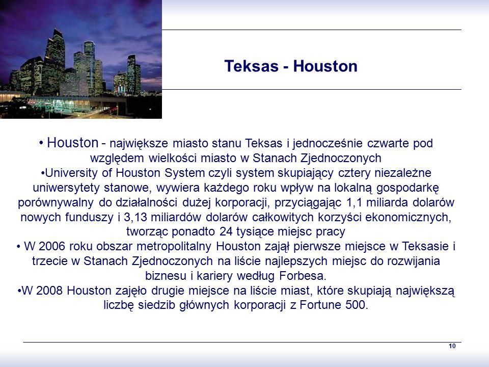 10 Teksas - Houston Houston - największe miasto stanu Teksas i jednocześnie czwarte pod względem wielkości miasto w Stanach Zjednoczonych University o
