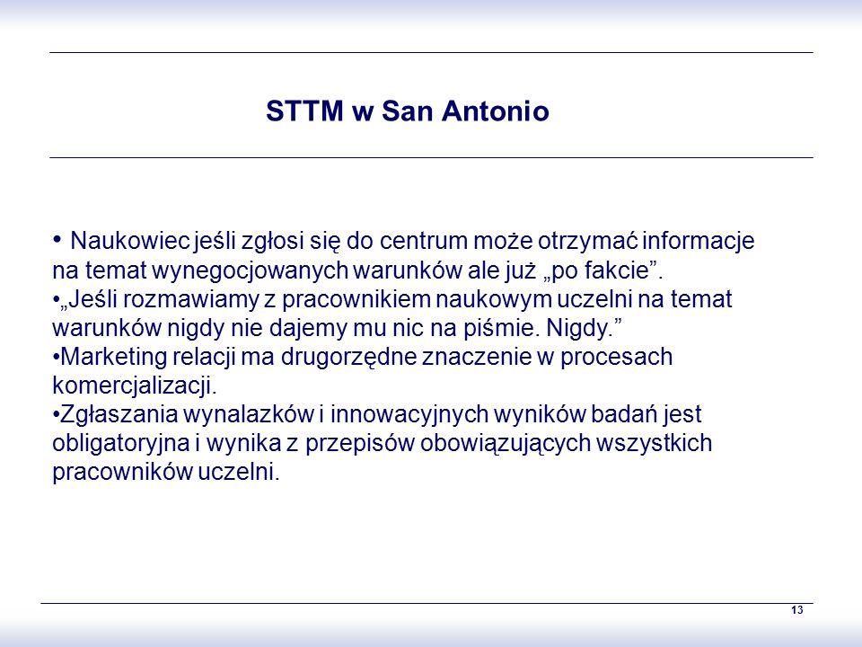 """13 STTM w San Antonio Naukowiec jeśli zgłosi się do centrum może otrzymać informacje na temat wynegocjowanych warunków ale już """"po fakcie ."""
