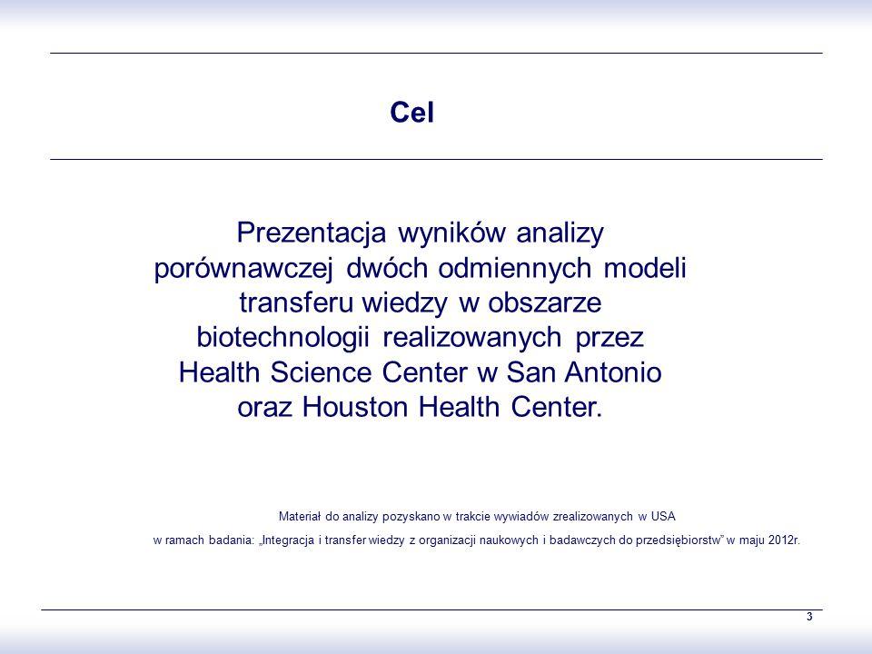 3 Prezentacja wyników analizy porównawczej dwóch odmiennych modeli transferu wiedzy w obszarze biotechnologii realizowanych przez Health Science Center w San Antonio oraz Houston Health Center.